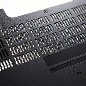 Bottom of black d laptop casing