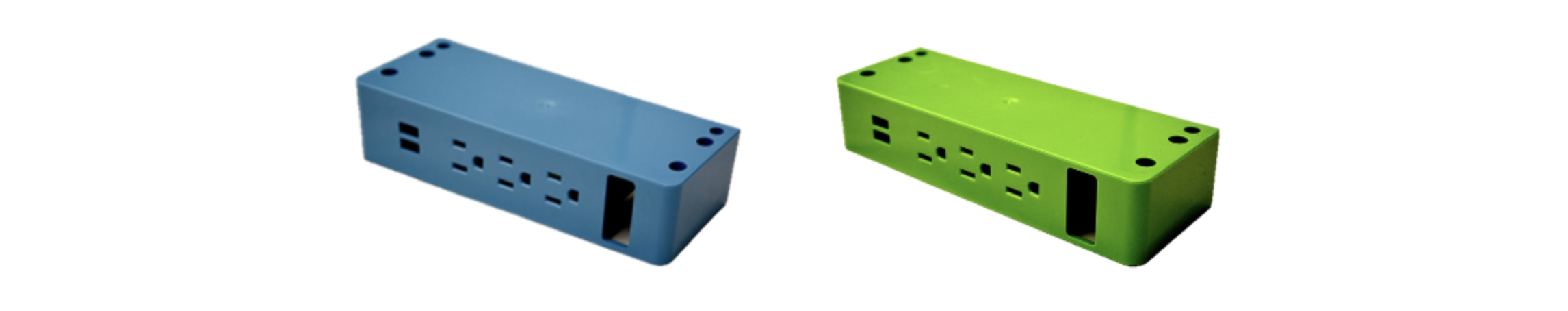 Blue and green A/C power strips
