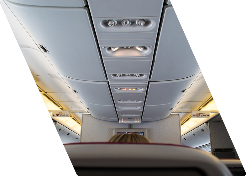 Airplane interior ceiling